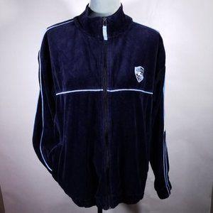 Starter Velour Soft Blue Badge Zip-up Sweatshirt
